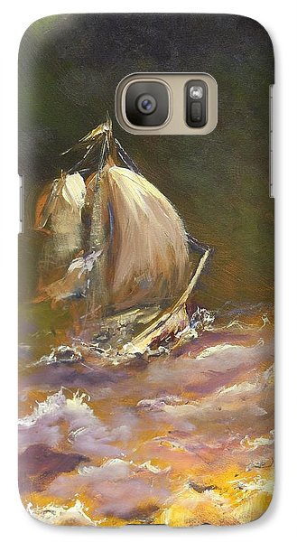 Galaxy Case featuring the painting A Stormy Night At Sea by Dan Whittemore