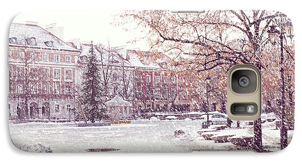 Galaxy Case featuring the photograph A Street In Warsaw, Poland On A Snowy Day by Juli Scalzi