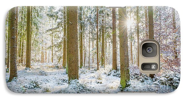 Galaxy Case featuring the photograph A Sunny Day In The Winter Forest by Hannes Cmarits