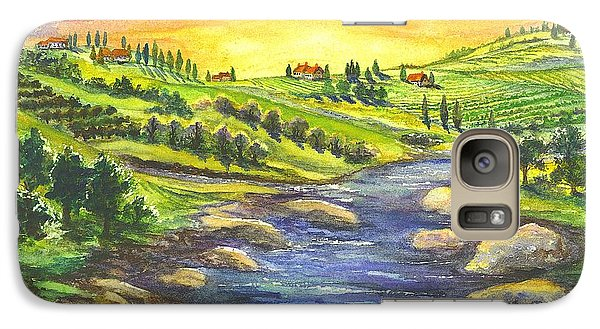 Galaxy Case featuring the painting A Sunset In Wine Country by Carol Wisniewski