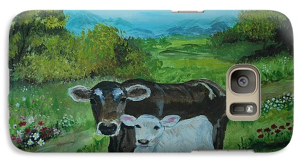 Galaxy Case featuring the painting A Tender Love by Leslie Allen