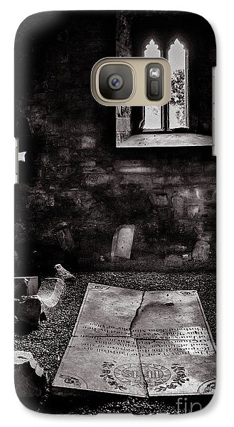Galaxy Case featuring the photograph A Tombstone In Sligo Abbey Bw by RicardMN Photography