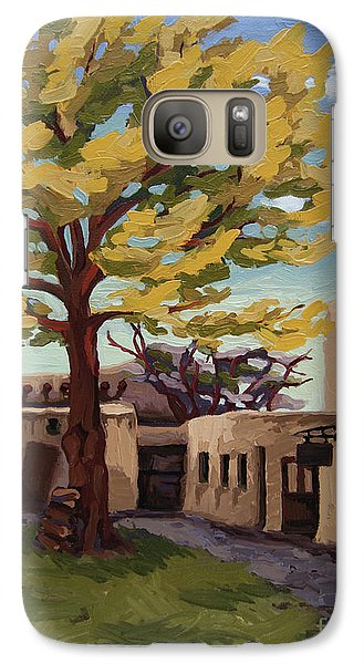 Galaxy Case featuring the painting A Tree Grows In The Courtyard, Palace Of The Governors, Santa Fe, Nm by Erin Fickert-Rowland