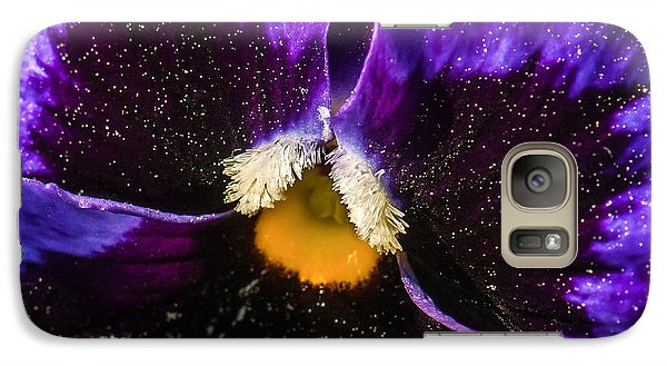 Galaxy Case featuring the photograph A Universe In A Pansy by Jim Moore