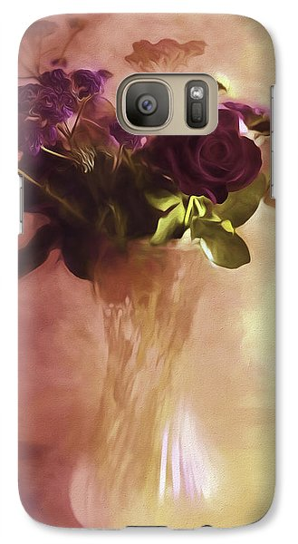 Galaxy Case featuring the photograph A Vase Of Flowers Touched By The Morning Sun by Diane Schuster
