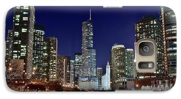 Soldier Field Galaxy S7 Case - A View Down The Chicago River by Frozen in Time Fine Art Photography