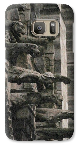 Galaxy Case featuring the photograph A Wall Of Gargoyles Notre Dame Cathedral by Christopher Kirby