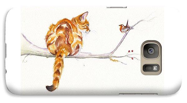Cat Galaxy S7 Case - A Winter Meeting by Debra Hall