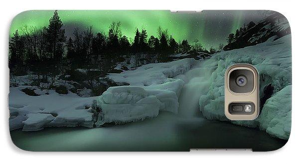 A Wintery Waterfall And Aurora Borealis Galaxy Case by Arild Heitmann
