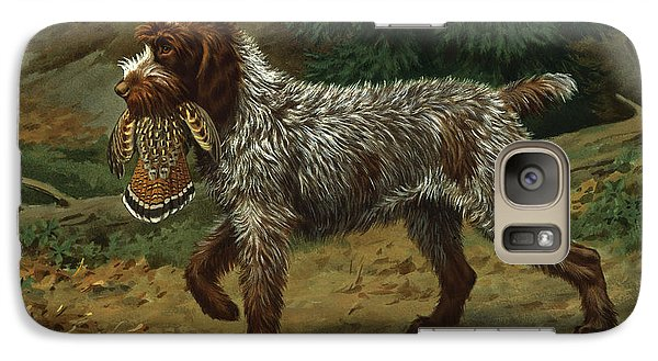 A Wire-haired Pointing Griffon Holds Galaxy S7 Case