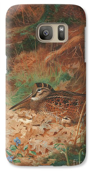 A Woodcock And Chick In Undergrowth Galaxy S7 Case by Archibald Thorburn