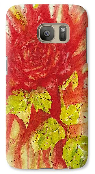 Galaxy Case featuring the painting A Wounded Rose by Kathleen Pio