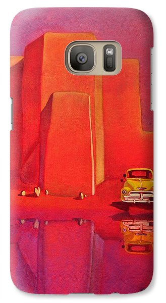 Galaxy Case featuring the painting A Yellow Truck With A Red Moon In Ranchos by Art West