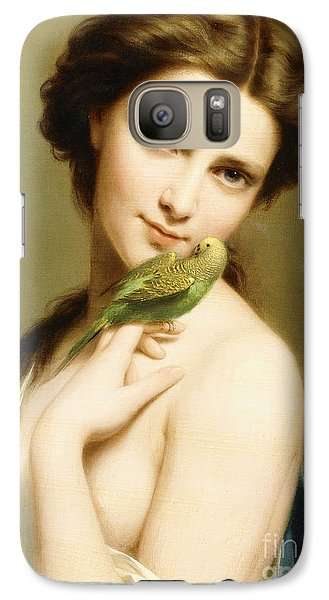 Parakeet Galaxy S7 Case - A Young Beauty With A Parakeet by Fritz Zuber-Buhler