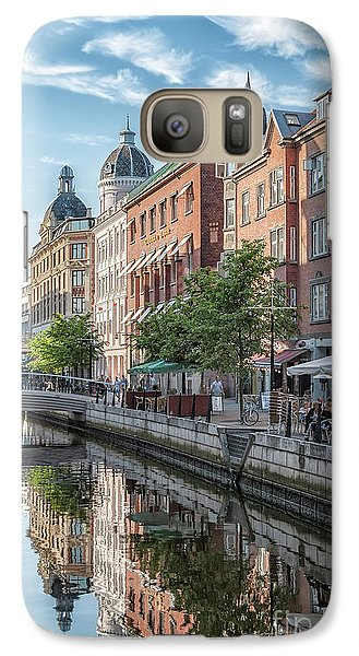 Galaxy Case featuring the photograph Aarhus Afternoon Canal Scene by Antony McAulay