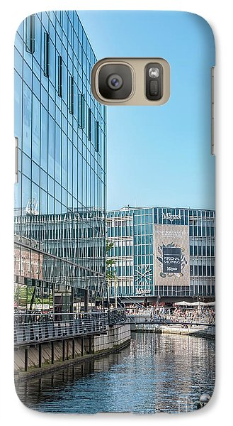 Galaxy Case featuring the photograph Aarhus Lunchtime Canal Scene by Antony McAulay