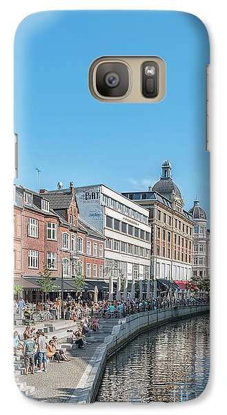 Galaxy Case featuring the photograph Aarhus Summertime Canal Scene by Antony McAulay