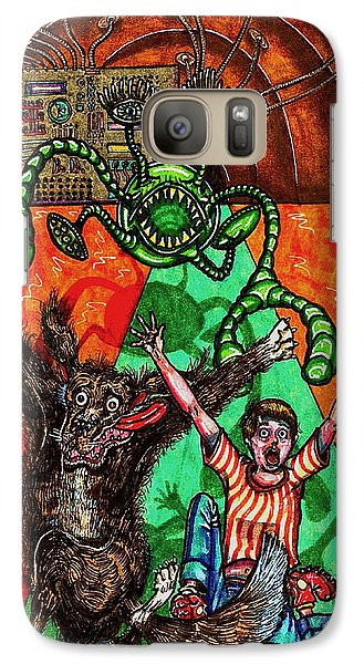 Galaxy Case featuring the drawing Aarron And Spacedog Chased By An Alien by Al Goldfarb