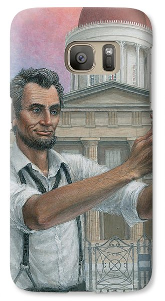 Galaxy Case featuring the painting Abe's 1st Selfie by Jane Bucci