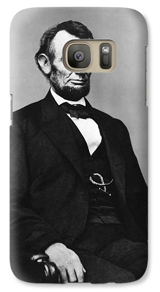 Galaxy Case featuring the photograph Abraham Lincoln Portrait - Used For The Five Dollar Bill - C 1864 by International  Images