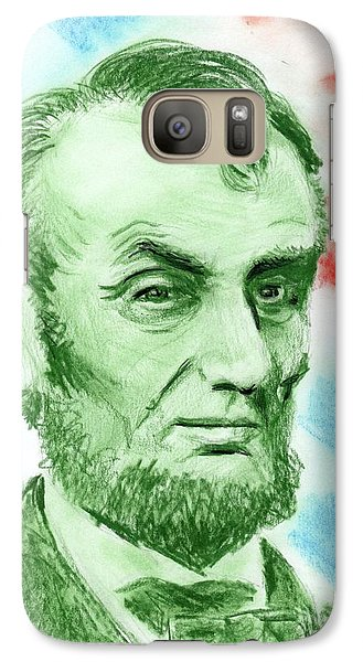 Galaxy Case featuring the drawing Abraham Lincoln  by Yoshiko Mishina