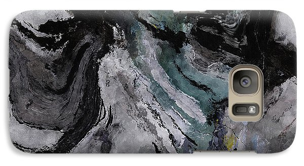 Galaxy Case featuring the painting Abstract And Minimalist Acryling Painting In Gray Color by Ayse Deniz