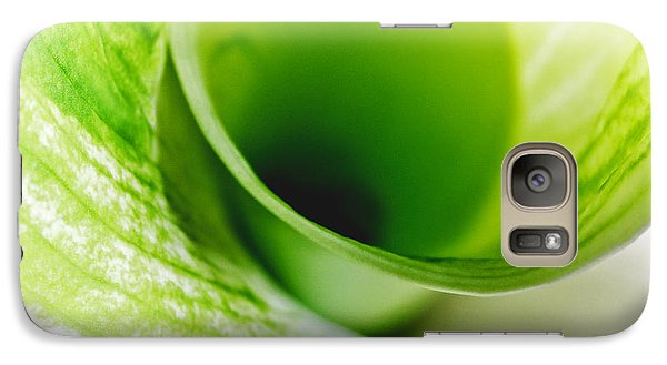 Galaxy Case featuring the photograph Abstract Green Wite Flowers Macro Photography Art Work Square by Artecco Fine Art Photography