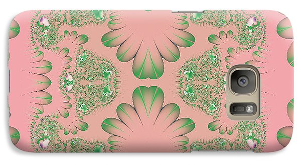 Galaxy Case featuring the digital art Abstract In Pink And Green by Linda Phelps