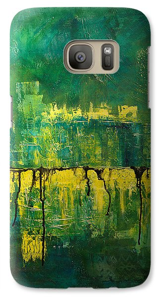 Galaxy Case featuring the painting Abstract In Yellow And Green by Jocelyn Friis