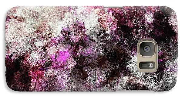 Galaxy Case featuring the painting Abstract Landscape Painting In Purple And Pink Tones by Ayse Deniz