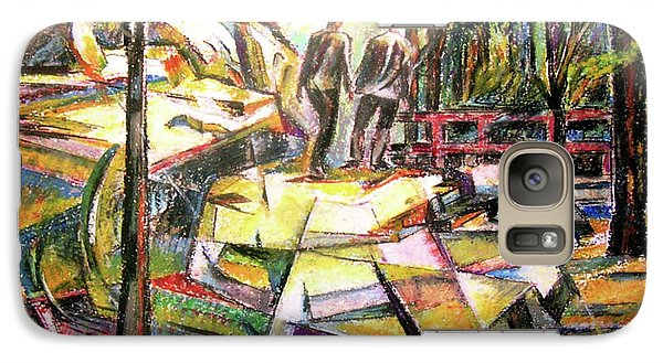 Galaxy Case featuring the drawing Abstract Landscape With People by Stan Esson