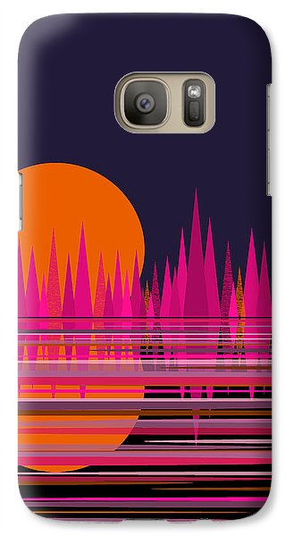 Galaxy Case featuring the digital art Abstract Moon Rise In Pink by Val Arie