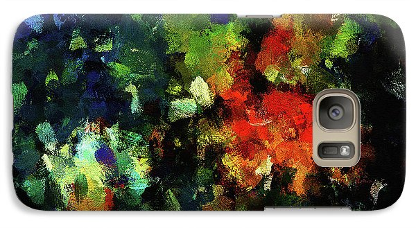 Galaxy Case featuring the painting Abstract Painting In Dark Blue Tones by Ayse Deniz
