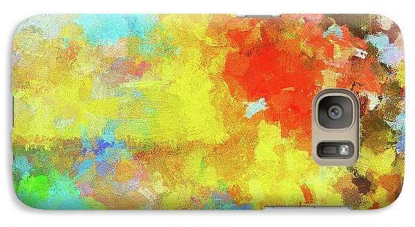 Galaxy Case featuring the painting Abstract Seascape Painting With Vivid Colors by Ayse Deniz