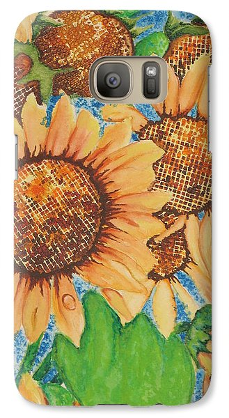 Galaxy Case featuring the painting Abstract Sunflowers by Chrisann Ellis