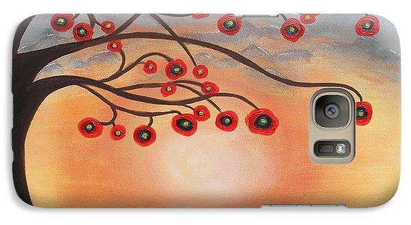 Galaxy Case featuring the painting Abstract Sunset by Jolanta Anna Karolska