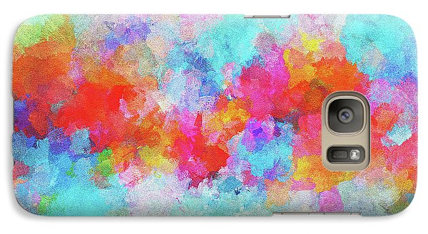 Galaxy Case featuring the painting Abstract Sunset Painting With Colorful Clouds Over The Ocean by Ayse Deniz