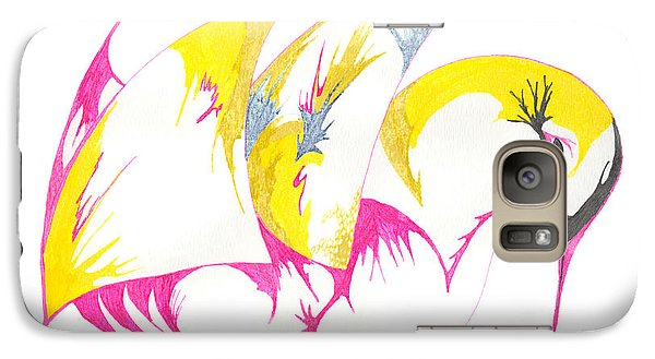 Galaxy Case featuring the drawing Abstract Swan by Mary Mikawoz
