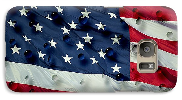 Galaxy Case featuring the painting Abstract Water Drops On Usa Flag by Georgeta Blanaru