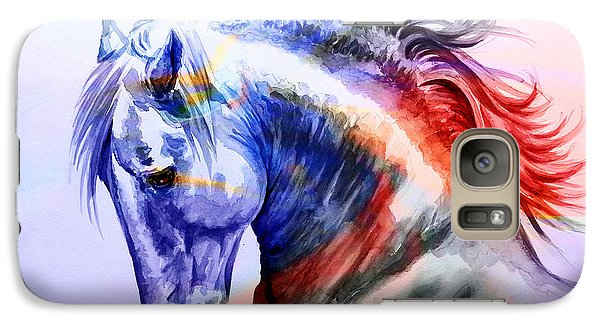Galaxy Case featuring the painting Abstract White Horse 44 by J- J- Espinoza