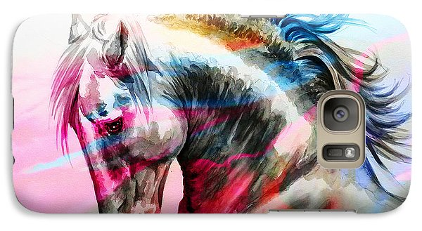 Galaxy Case featuring the painting Abstract White Horse 45 by J- J- Espinoza