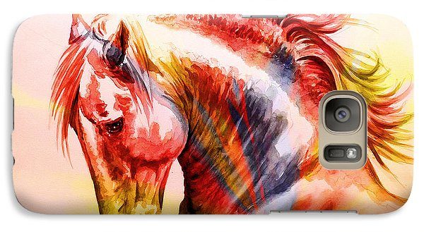 Galaxy Case featuring the painting Abstract White Horse 46 by J- J- Espinoza