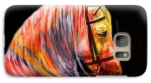 Galaxy Case featuring the painting Abstract White Horse 52 by J- J- Espinoza