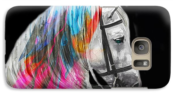 Galaxy Case featuring the painting Abstract White Horse 54 by J- J- Espinoza