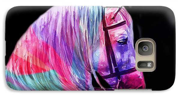 Galaxy Case featuring the painting Abstract White Horse 55 by J- J- Espinoza