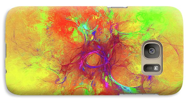 Galaxy Case featuring the digital art Abstract With Yellow by Deborah Benoit