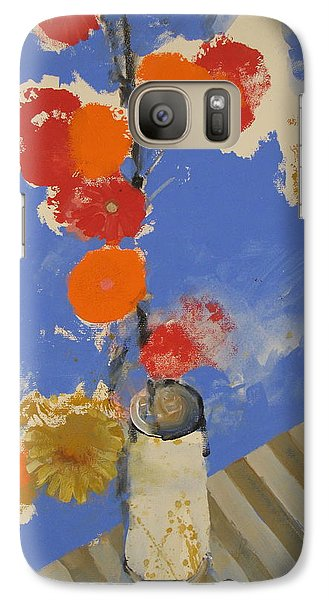 Galaxy Case featuring the painting Abstracted Flowers In Ceramic Vase  by Cliff Spohn