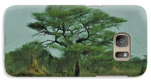 Galaxy Case featuring the digital art Acacia Tree And Termite Hills by Ernie Echols