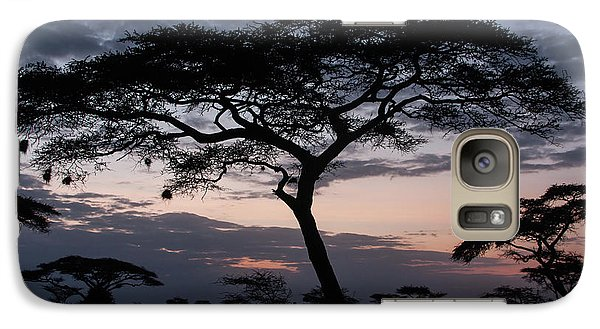 Galaxy Case featuring the photograph Acacia Trees Sunset by Chris Scroggins