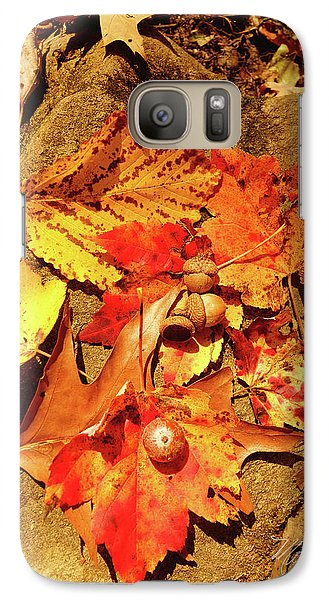 Galaxy Case featuring the photograph Acorns Fall Maple Leaf by Meta Gatschenberger